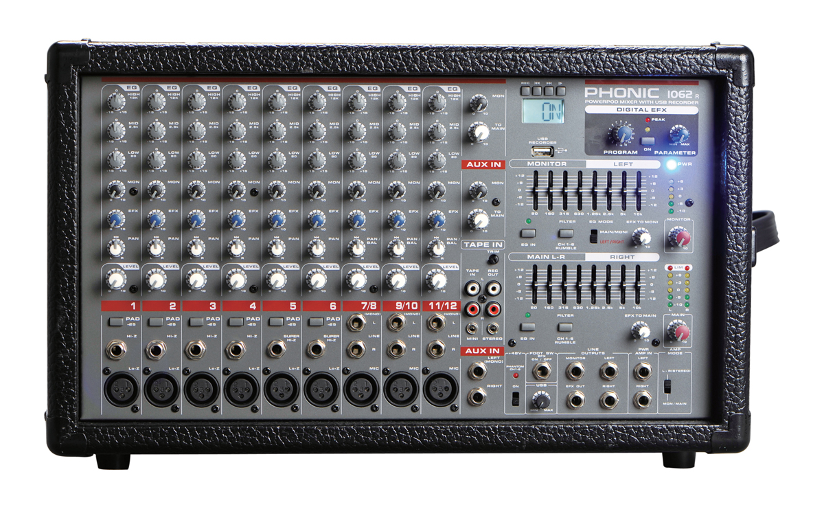Phonic 1062R 1200W 10-Channel Powered Mixer w/DFX+ USB recorder