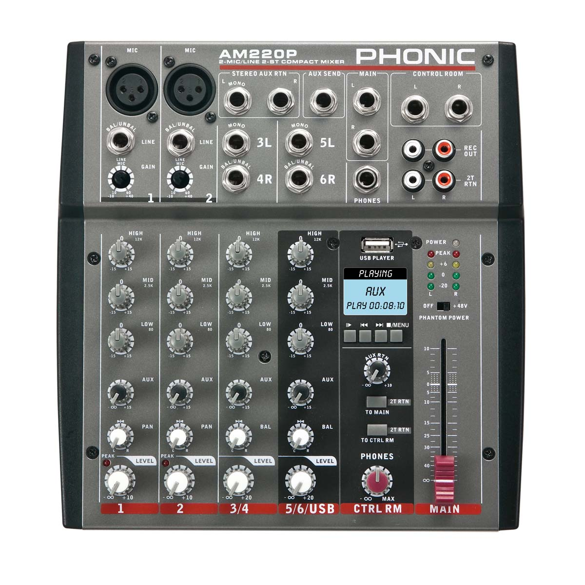 Phonic AM220P 2-Mic/Line 2-Stereo Input Compact Mixer with USB Player