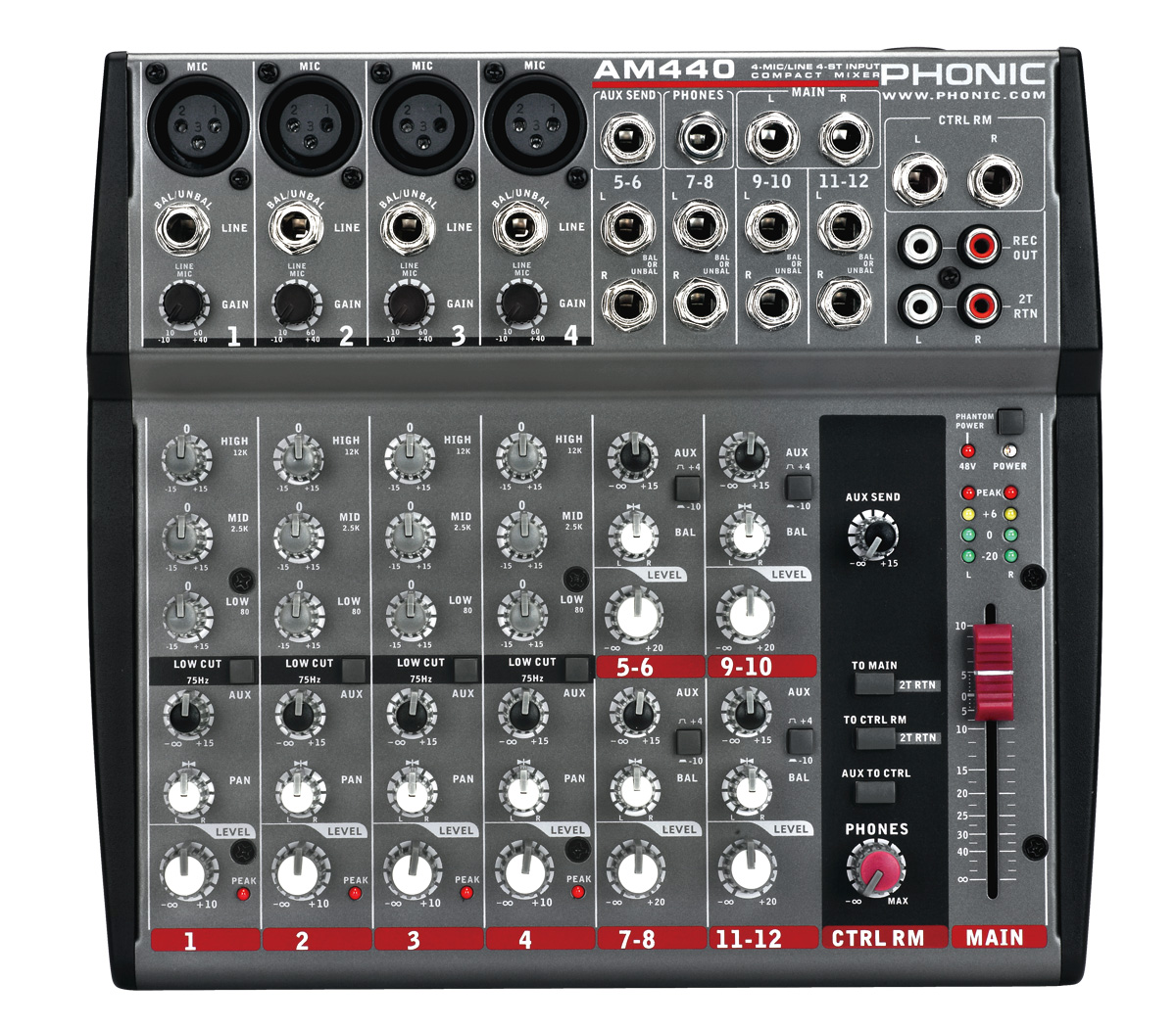 Phonic AM440DP 4-Mic/Line 4-Stereo Compact Mixer with EFX and USB Player