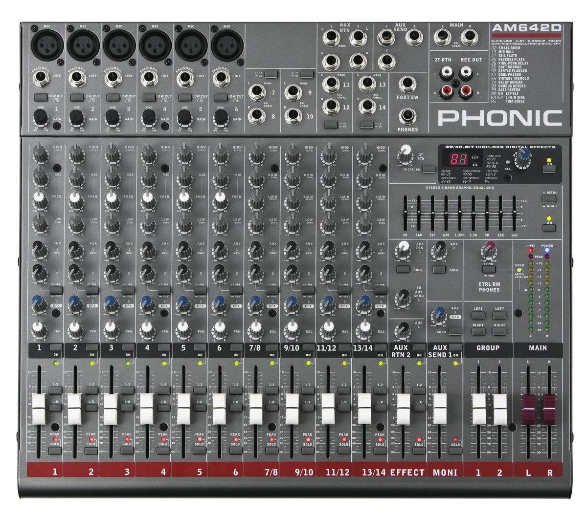 Phonic AM642D 6-Mic/Line 4-Stereo 2 Group Mixer with GEQ, FFX