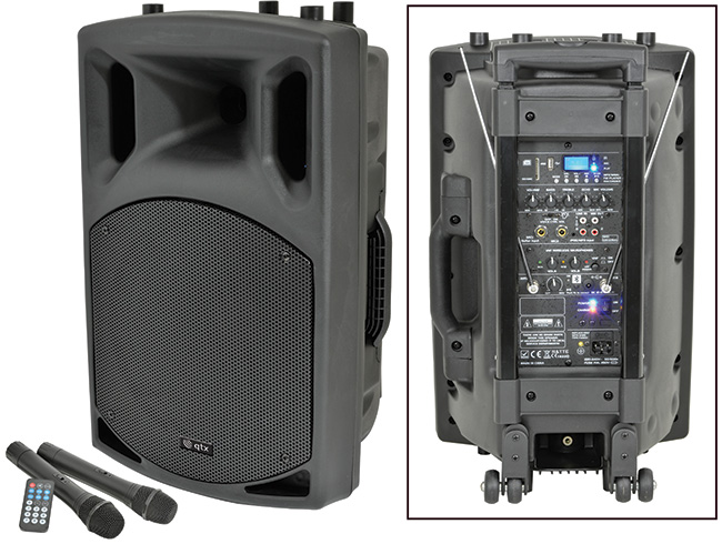 * NEW SKYTEC QX12 PA in PORTABLE PA WITH USB/SD/FM - 2 CORDELSS MICS -  BATTERY or MAINS - VIDEO