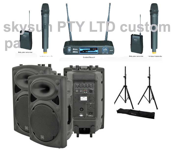 * BESTSELLER SA-QR12K Complete portable PA inc 2 powered speakers + 2 speakers stands + Encrypted Wireless DUAL microphones syst
