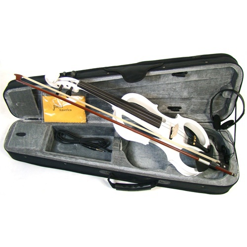 * View CAPETOWN Jinyin Electric frame violin (4/4) (WHITE) with headphones and piezzo pickups for all amplifiers