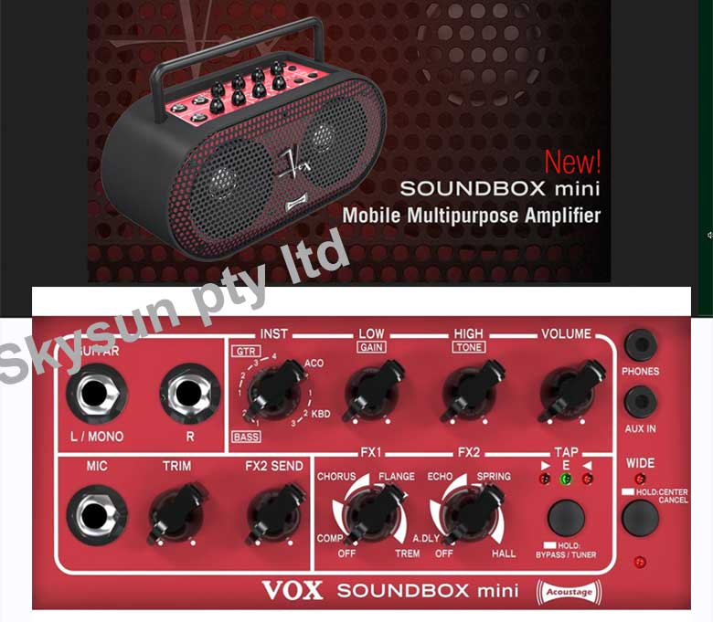 * Vox Soundbox mini battery operated guitar amp and playback system